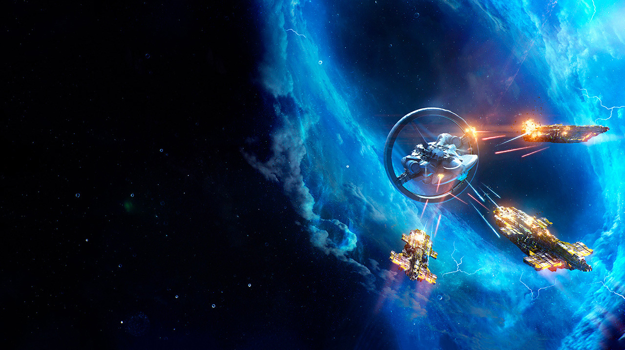 A single warp-capable spaceship with an outer ring is fired upon by three blocky pirate ships. The scene is set in front of a blue nebula.
